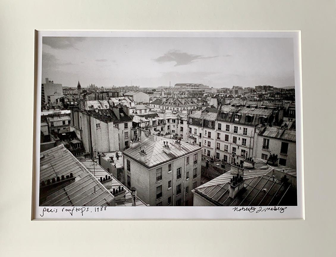 Parisian Rooftops, France, Black and White Landscape Photography of Paris 1980s