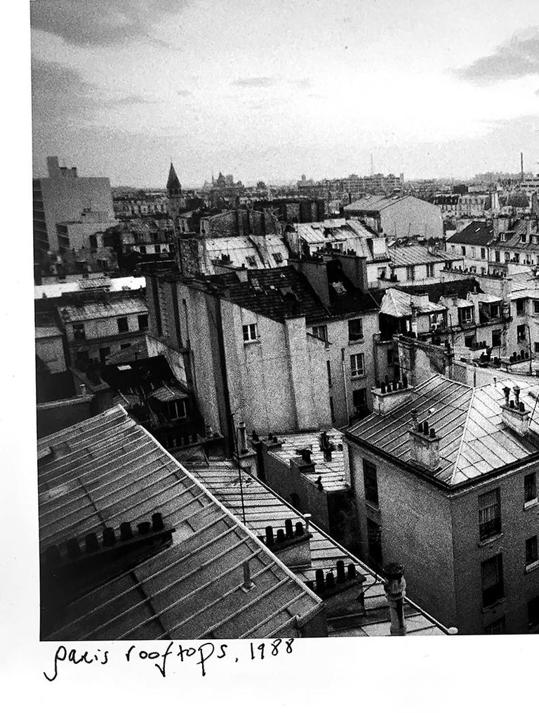 Paris Rooftops, France, Black and White Landscape Architectural Photo - Silver Black and White Photograph by Roberta Fineberg