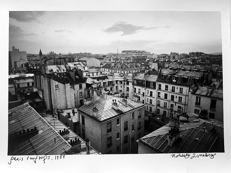Paris Rooftops, France, Black and White Landscape Architectural Photo - Photograph by Roberta Fineberg