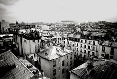 Parisian Rooftops, Paris, France, Black and White Landscape Architectural Photo