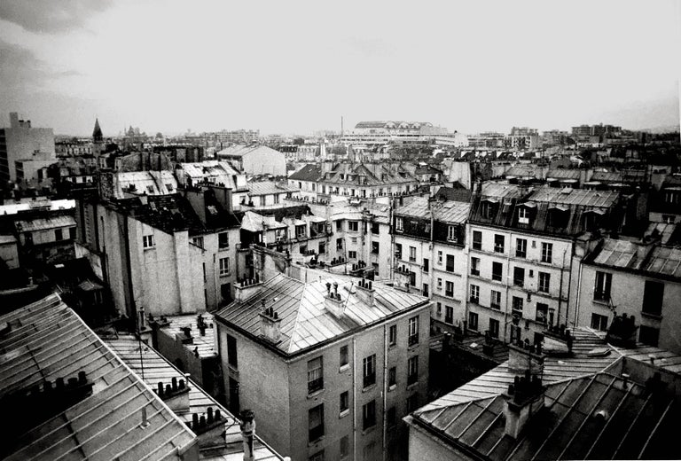 Paris Rooftops, France, Black and White Landscape Architectural Photo - Contemporary Photograph by Roberta Fineberg