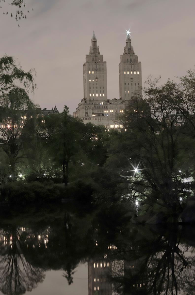 Twin Greek Temples (Nightfall), San Remo, New York City Cityscape Photography