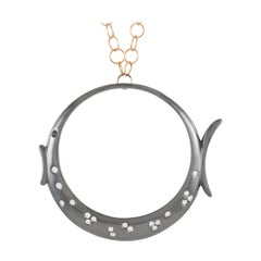 Roberta Porrati 18K White and Rose Gold 0.55 Ct Diamond Fish Pendant Necklace