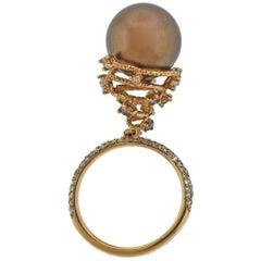 Roberta Porrati Chocolate South Sea Pearl Diamond Gold Charm Ring