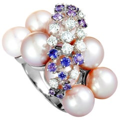 Roberta Porrati Diamond and Purple Sapphire Cluster Pearl White Gold Ring