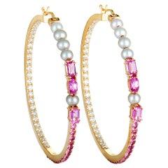 Roberta Porrati Diamond, Pink Sapphire and Pearls Rose Gold Hoop Earrings