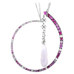 Roberta Porrati Diamond Pink Sapphire & Pink Quartz Gold Circle Pendant Necklace