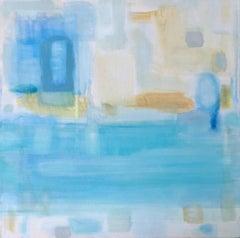 Roberta Tetzner, Misty Seascape, Original Mixed Media Painting, Contemporary Art