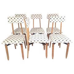 Roberto Aloi Italian Mid-Century Set of Six Dining Chairs, 1950