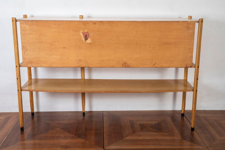 Roberto Aloi Oakwood and Abstract Pattern Printed Plastic Italian Highboard For Sale 4