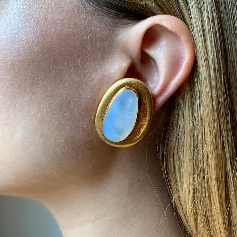 Cabochon c. 1970 Roberto and Haroldo Burle Marx Forma Livre Moonstone and Gold Earrings For Sale