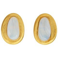 c. 1970 Burle Marx Forma Livre Moonstone and Gold Earrings