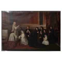 "Roberto Bompiani, ""The Confirmation"" Monumental Oil Painting, circa 1871"