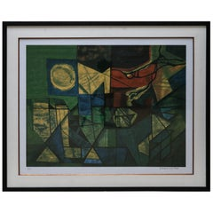 Roberto Burle Marx Abstract Print in Green and Yellow, 1960s