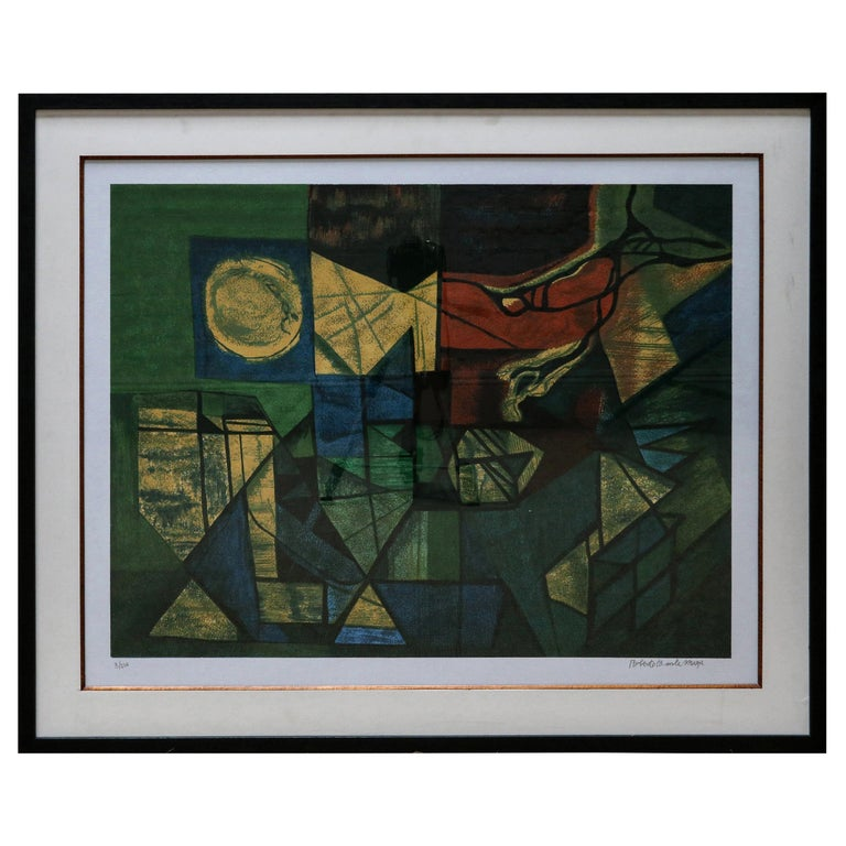 Roberto Burle Marx Abstract Print in Green and Yellow, 1960s For Sale