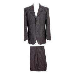Roberto Capucci Brown Pinstriped Men's Suit 1990s Classic