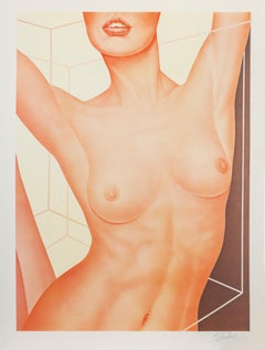 Lips in Perspective, Nude Lithograph by Roberto Carbone