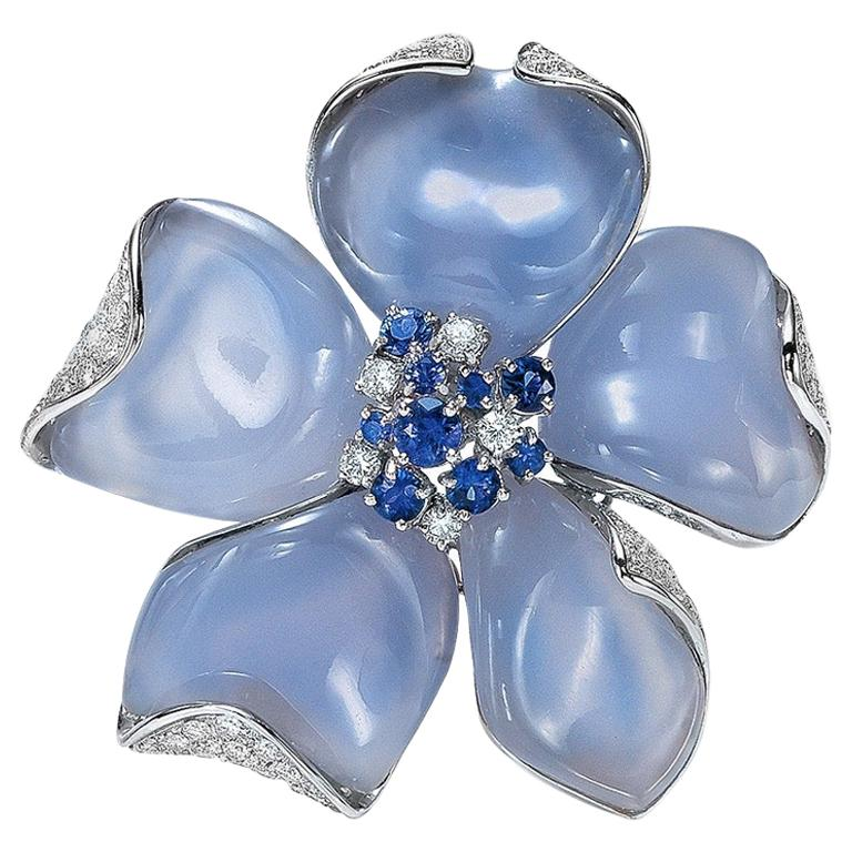 Roberto Casarin 18 Karat White Gold Chalcedony, Diamond and Blue Sapphire Brooch For Sale