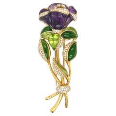 Roberto Casarin 18kt Yg Flower Brooch Amethyst, Tourmaline, Diamond, Peridot