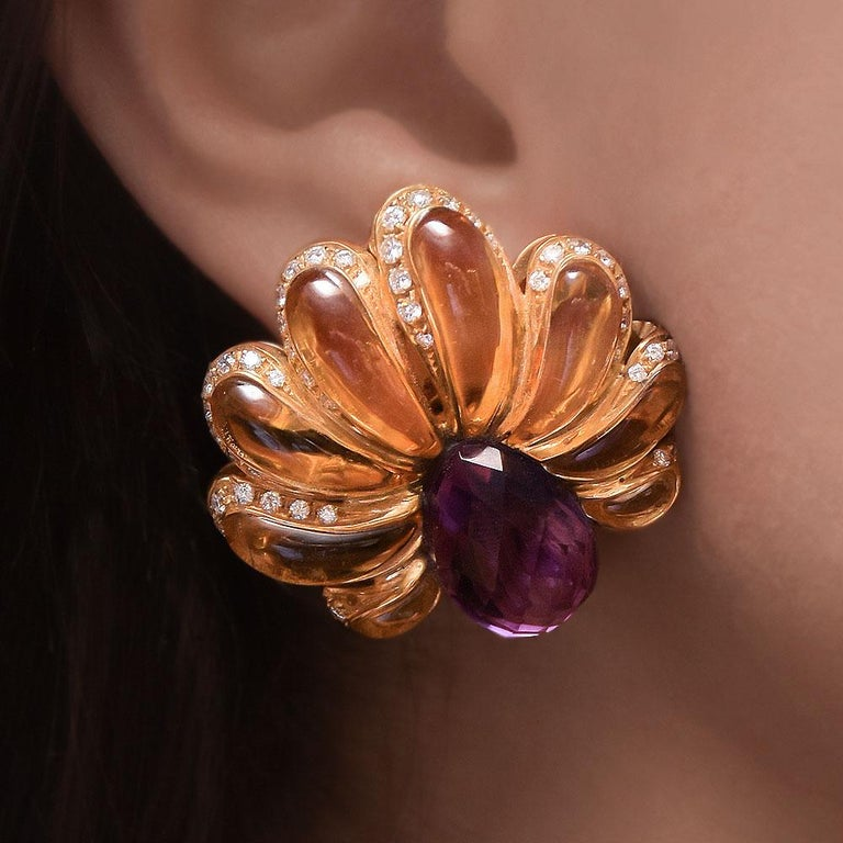 Roberto Casarin for Cellini Carved Amethyst, Citrine, & Dia. YG Flower Earrings In New Condition For Sale In New York, NY