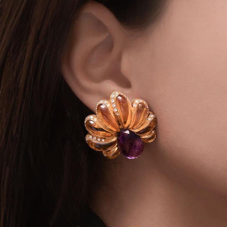 Women's or Men's Roberto Casarin for Cellini Carved Amethyst, Citrine, & Dia. YG Flower Earrings For Sale