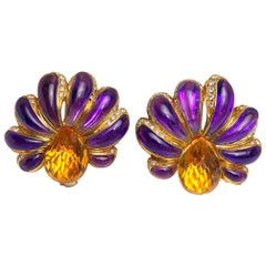 Roberto Casarin for Cellini Carved Amethyst, Citrine, & Dia. YG Flower Earrings