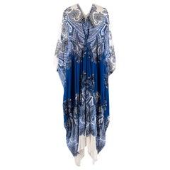 Roberto Cavali Paisley Silk Blue & White Kaftan Dress - Size US 8