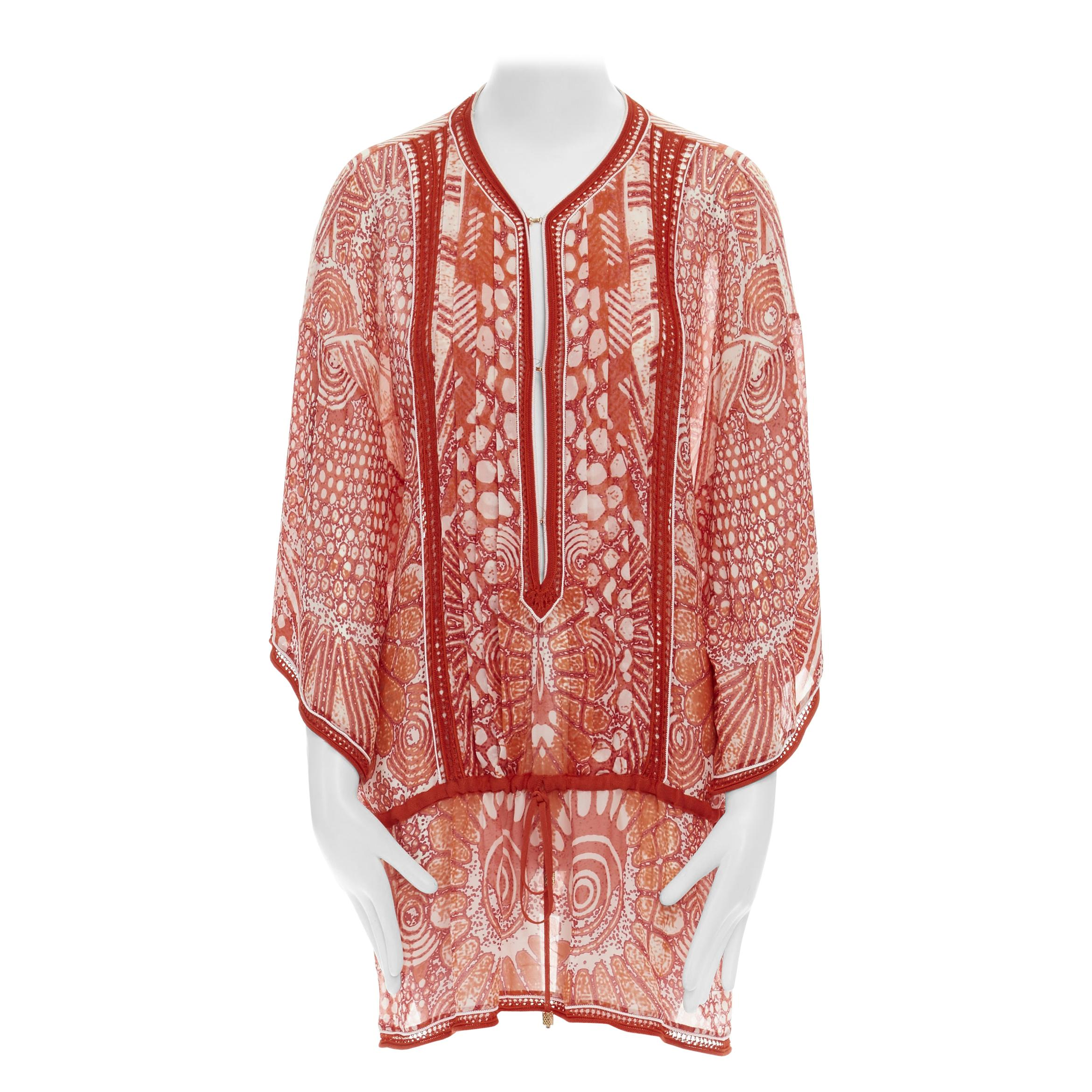 ROBERTO CAVALLI 100% silk red tropical floral crochet seam poncho cover up top S