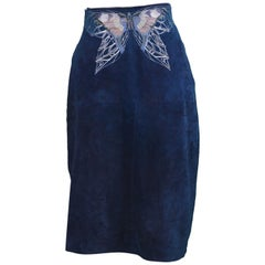 Roberto Cavalli 1970s Vintage Blue Suede Skirt