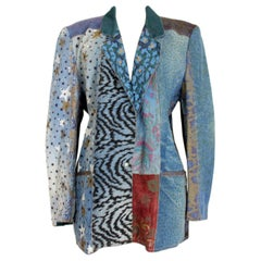 Roberto Cavalli 1980s Blue Leather Denim Patchwork Jacket Vintage