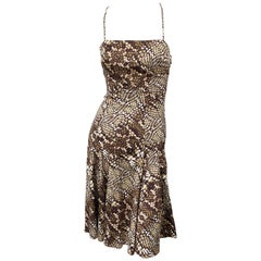 Roberto Cavalli 2000s Snakeskin Python Animal Print Silk Brown Flirty Dress