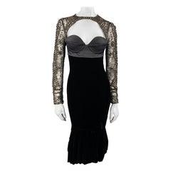 ROBERTO CAVALLI 4 Black Bustier Studded Lace SLeeve Velvet Cocktail Dress