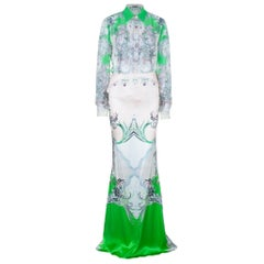 Roberto Cavalli Abstract Silk Chiffon Top And Skirt Set M/S