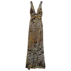 ROBERTO CAVALLI Tiger Animal Print Long Dress w/ Tags  SZ 42