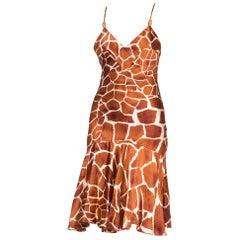 1990'S ROBERTO CAVALLI Animal Print Silk Charmeuse Bias Slip Cocktail Dress