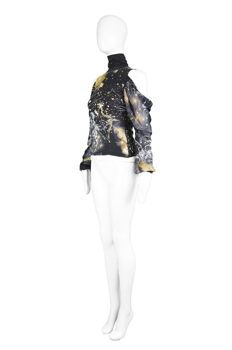 Roberto Cavalli Astrology Print Black Stretch Silk Chiffon Cold Shoulder Blouse For Sale 2