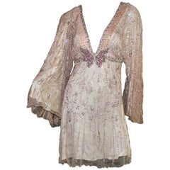 Roberto Cavalli Beaded Butterfly Crystal Blush Silk Evening Kimono Dress