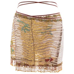 Roberto Cavalli beaded embellished fringed evening wrap mini skirt, ss 2000