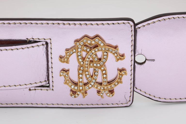 Beautiful Roberto Cavalli metalic pink belt with iconic RC logos.