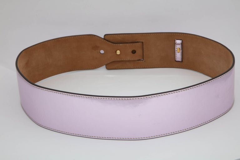 Roberto Cavalli Beautiful Metalic Pink Leather Belt For Sale 1