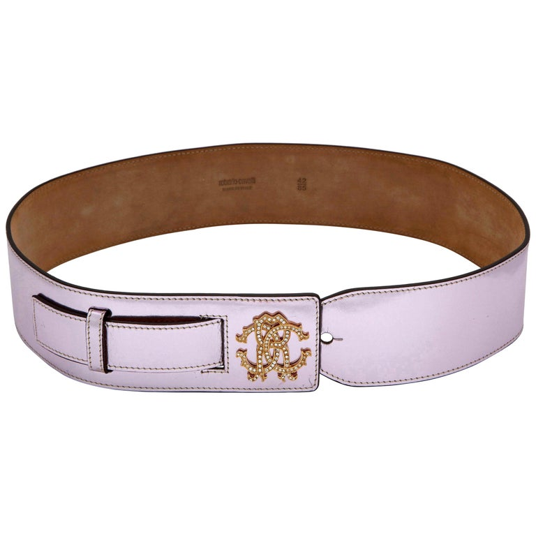 Roberto Cavalli Beautiful Metalic Pink Leather Belt For Sale