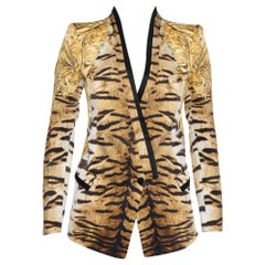 Roberto Cavalli Beige Animal Print Silk Tailored Blazer S