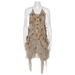 Roberto Cavalli Beige Floral Print Chiffon Silk Strappy Tiered Dress M