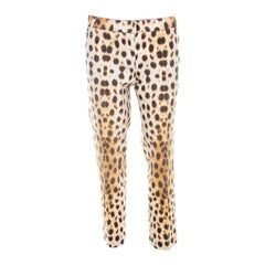 Roberto Cavalli Beige Leopard Print Cotton Tapered Ankle Grazer Trousers M