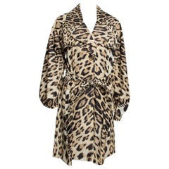 Roberto Cavalli Beige Leopard Printed Cotton Blend Belted Trench Coat M