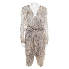 Roberto Cavalli Beige Printed Silk Gathered Waist Detail Cropped Harem Jumpsuit