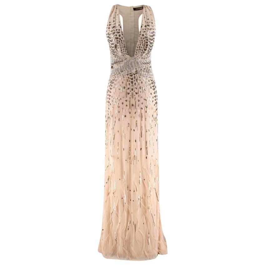 Roberto Cavalli Beige Silk Embellished Feathered Gown - Size US 2