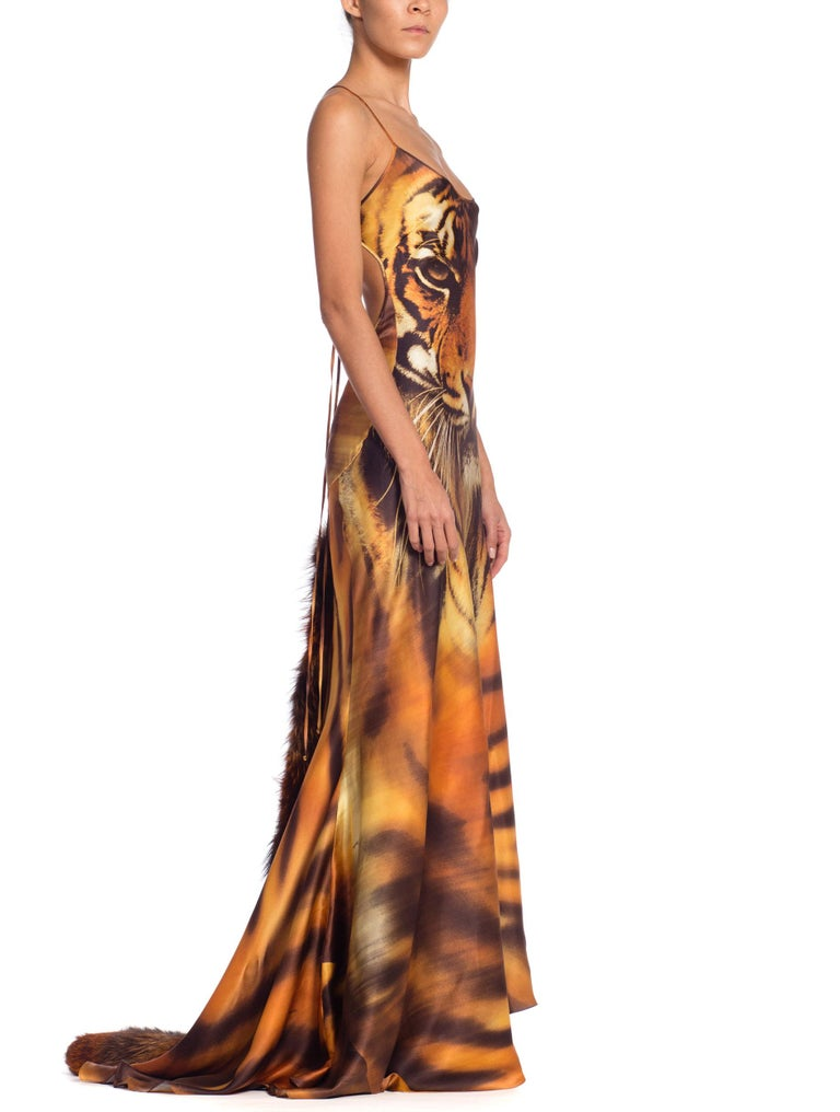 Roberto Cavalli Bias Cut Silk Gown Tiger with Fox Fur Tail NWT 6