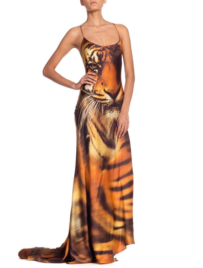 Roberto Cavalli Bias Cut Silk Gown Tiger with Fox Fur Tail NWT 7