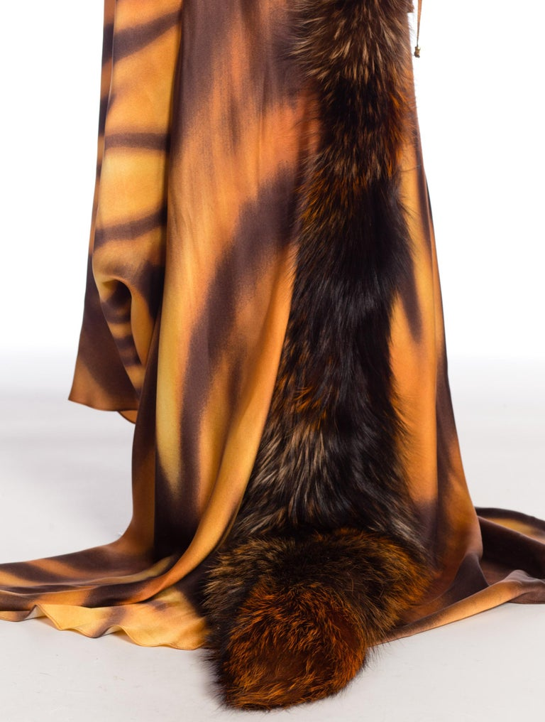 Roberto Cavalli Bias Cut Silk Gown Tiger with Fox Fur Tail NWT 12
